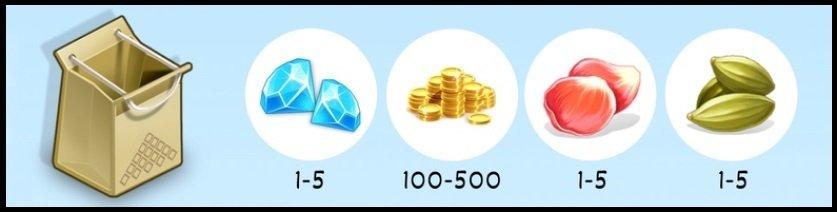 """Анис от 1 до 5 шт. Лепестки роз от 1 до 5 шт. Золотые монеты от 100 до 500 Алмазы (Бриллианты) от 1 до 5 Небольшой шанс получить уникальную специю """"Золото"""""""