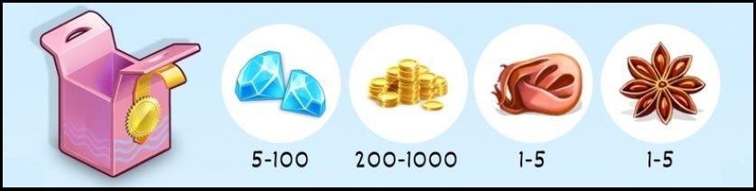 """Бадьян (1-5) Мускат (1-5) Золотые монеты от 200 до 1000 Алмазы (Бриллианты) от 5 до 100 ? (Может выпасть бадьян, мускат, золотые монеты или бриллианты).  Небольшой шанс получить уникальную специю """"Золото"""""""