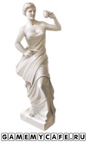 """После 22 уровня заказов Вам предложат купить скульптуру """"Женщина с кофе"""". Вы можете согласиться или отказаться. Эта скульптура стоит 495 бриллиантиков."""