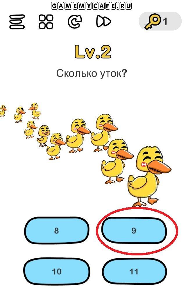 Brain out ответ на уровень 2 Всего 9 уток, так как 1 из них цыпленок.