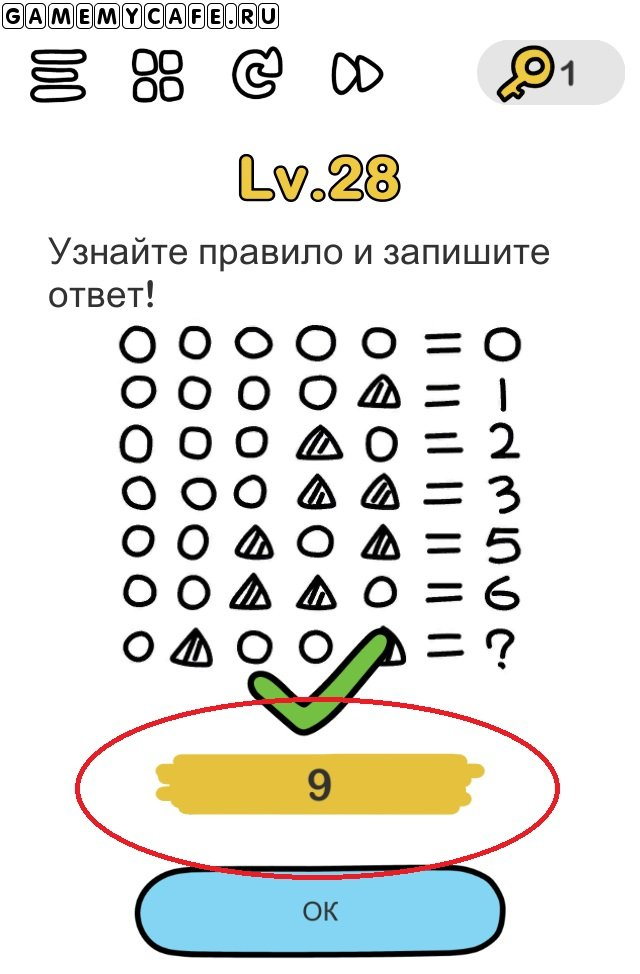 Brain out ответ на уровень 28 По логике цифр 1 и 2, начальное число будет 8, по последней фигурке 1, поэтому 8+1=9.