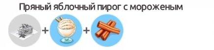 Пряный яблочный пирог с мороженым Необходимо добавить в ЯБЛОЧНЫЙ ПИРОГ МОРОЖЕНОЕ ПЛОМБИР и КОРИЦУ Рецепт открывается на 41 уровне игры