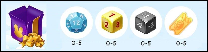 Фиолетовый подарок содержит в себе кубики для игры в Кролика Везунчика и билетики.В красном подарке содержится 8 предметов:Синий кубик (0-5) Золотой кубик (0-5) Чёрный кубик (0-5) Билетики (0-5) При приобретении Фиолетового подарка за реальные деньги Вы гарантированно получаете 600 VIP очков и 60 бриллиантов за Ваш уровень VIP.